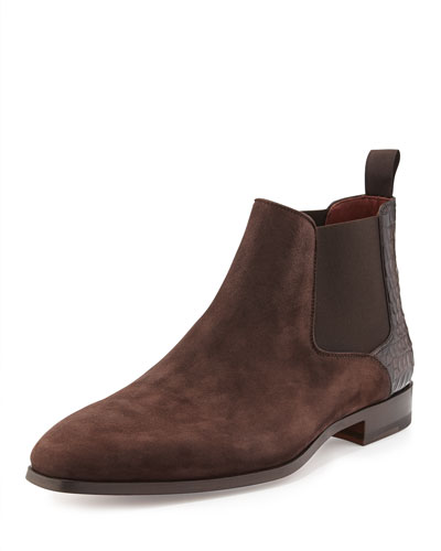 Alligator-Heel Suede Ankle Boot, Brown