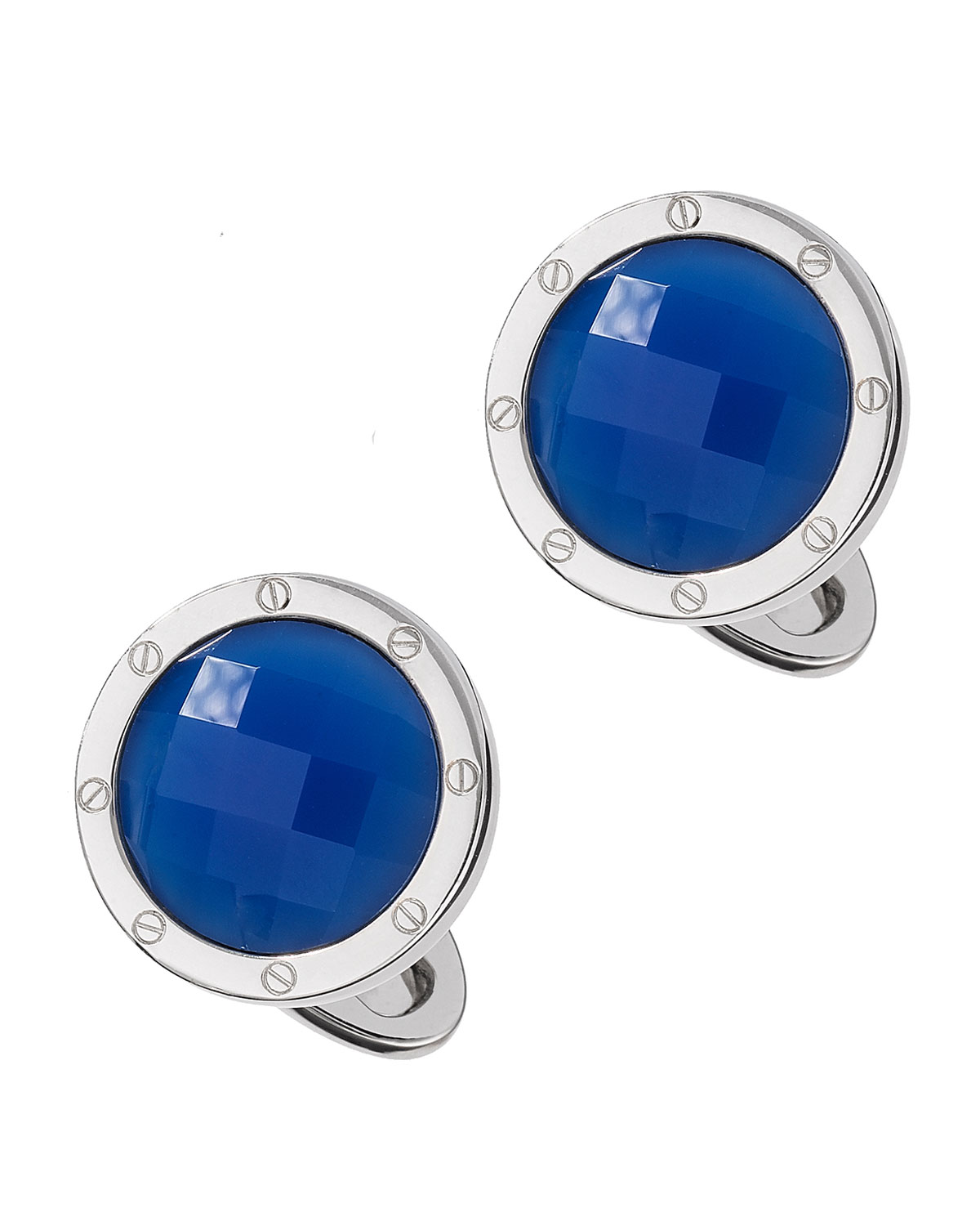 Blue Agate Faceted Cuff Links