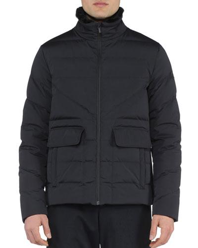Basic Nylon Puffer Jacket, Black