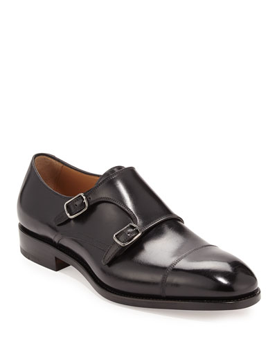 Tramezza Calfskin Double-Monk Shoe, Black