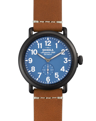 41mm Runwell Leather Watch, Brown
