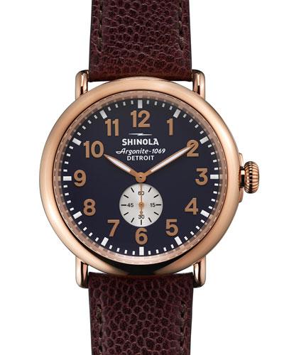 Men's 47mm Runwell Leather Watch