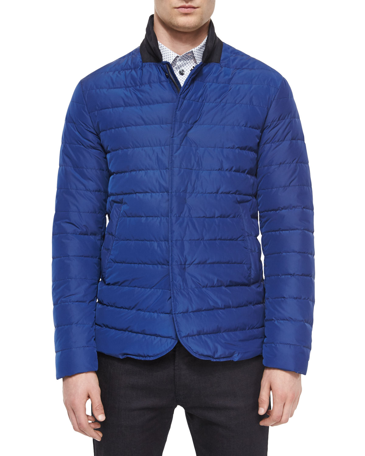 Full-Zip Puffer Jacket, Metallic Blue