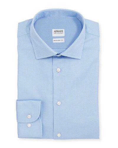 Modern-Fit Textured Dress Shirt, Light Blue