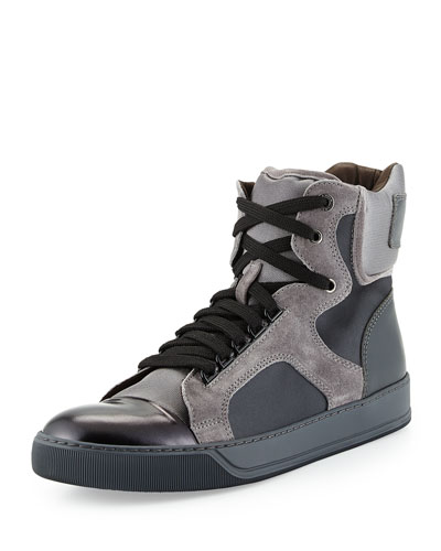 Mixed-Media High-Top Sneaker, Black/Beige
