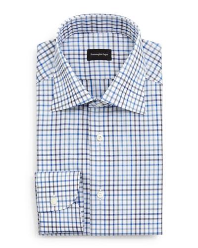 Box Check Dress Shirt, Blue/Charcoal/White