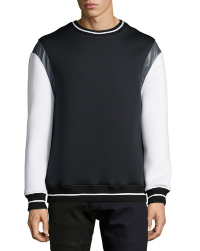 Evan Mixed-Media Crewneck Sweater, Black