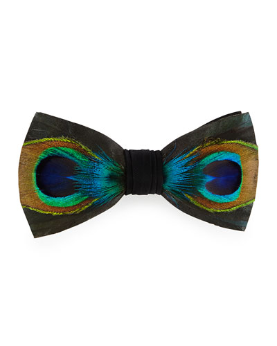Hugo Peacock-Feather Bow Tie, Green