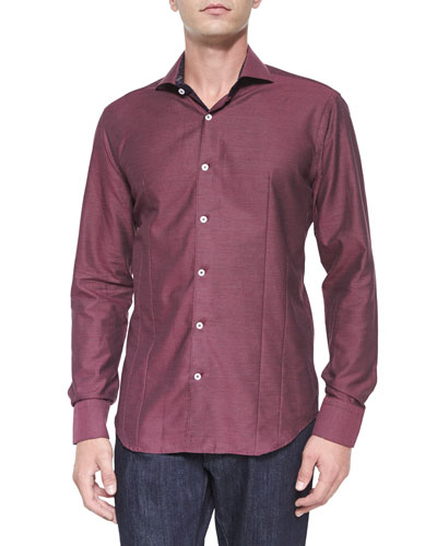 Solid Jacquard Woven Sport Shirt, Wine