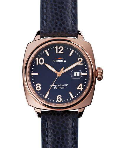 40mm Brakeman Watch with Leather Strap, Navy