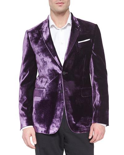Bayard Liquid Velvet Two-Button Jacket, Purple