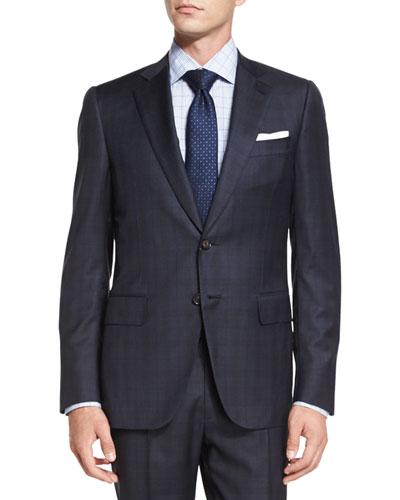 Tonal-Plaid Two-Piece Suit, Navy