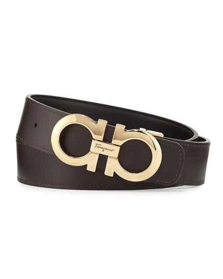 Salvatore Ferragamo Men's Double-Gancini Reversible Leather Belt, Black/Hickory