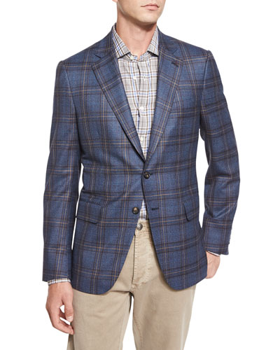 Plaid Two-Button Sport Jacket, Blue/Camel
