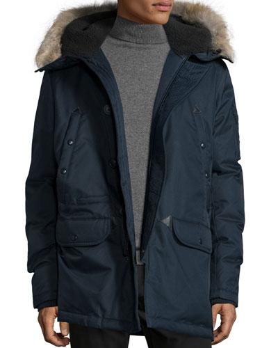 Snorkel Coat with Fur-Lined Hood, Navy