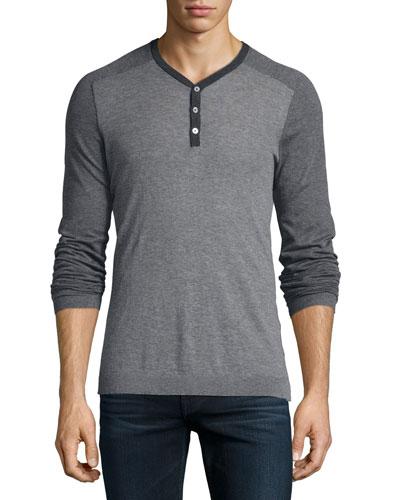 Lightweight Knit Henley Tee, Gray