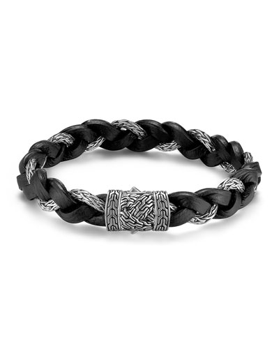 Men's Classic Chain Silver Braided Bracelet w/Leather Cord, Size M