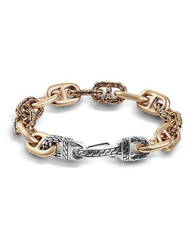 Men's Bronze/Silver Carved-Link Bracelet