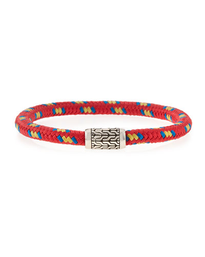 Men's Classic Chain Multicolor Cord Bracelet, Red