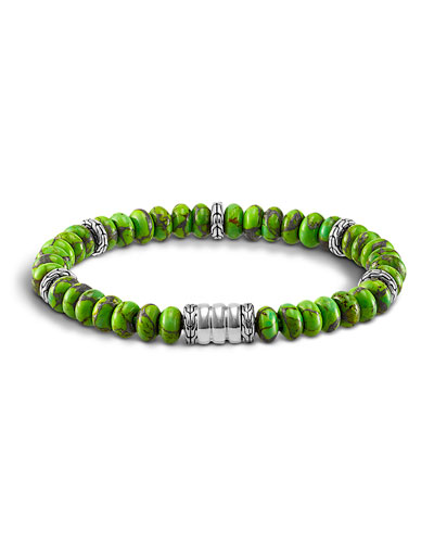 Mohave Bedeg Men's Beaded Bracelet, Green