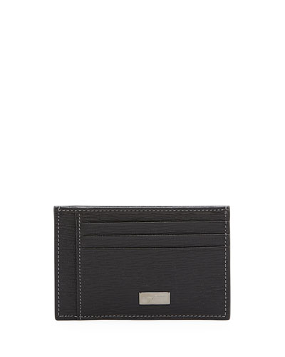 Revival Flat Leather Card Case, Black