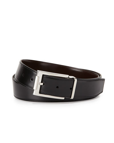 Reversible Leather Buckle Dress Belt, Black/Light Brown