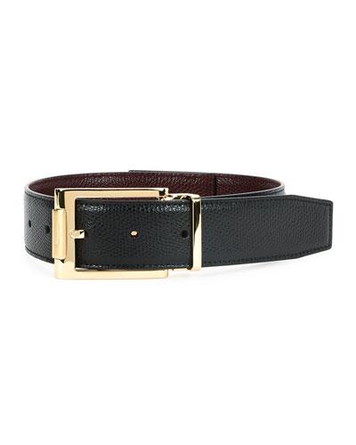 Reversible Square-Buckle Leather Belt, Black/Bordeaux