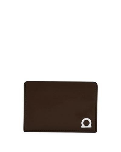 Gancio One Leather Card Case, Brown