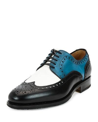 Lawson Tramezza Tricolor Calfskin Wing-Tip Lace-Up Shoe