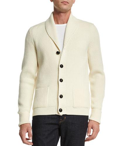 Iconic Shawl-Collar Cardigan, Ivory