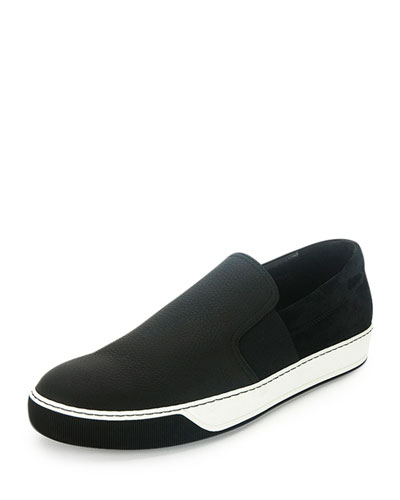 Men's Leather Slip-On Sneaker, Black