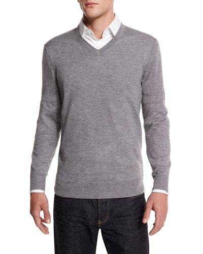 Cashmere-Silk V-Neck Sweater, Gray