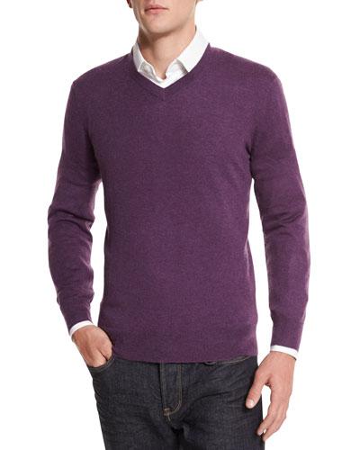 Cashmere-Silk V-Neck Sweater, Purple