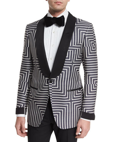Buckley Base Geometric-Print Suit Jacket, Black/White