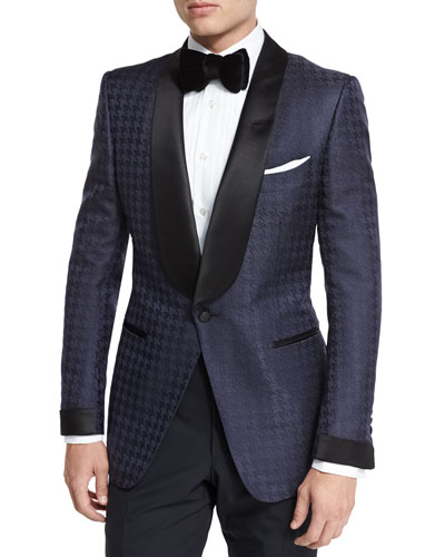 O'Connor Base Houndstooth Jacquard Dinner Jacket, Navy