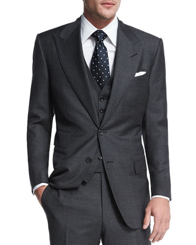 Windsor Base Sharkskin Three-Piece Suit, Charcoal