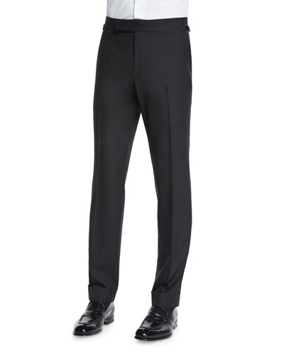 O'Connor Base Flat-Front Sharkskin Trousers, Black