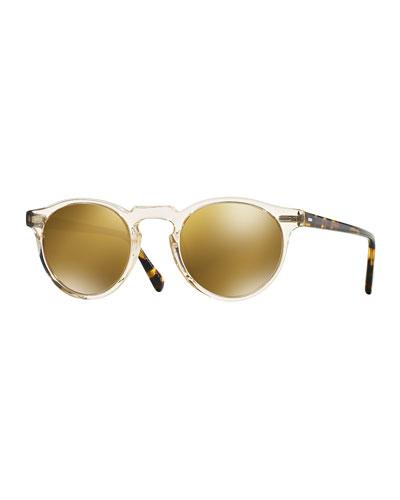 Gregory Peck Round Plastic Sunglasses, Brown/Tortoise