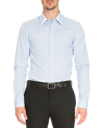 Woven Shirt with Two-Tone Collar, Light Blue