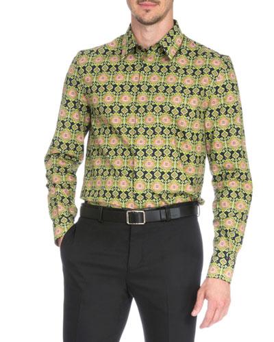 Carpet-Print Long-Sleeve Shirt, Green Pattern