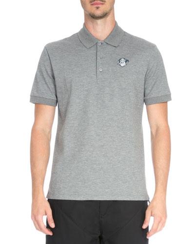 Rottweiler Patch Pique Polo Shirt, Dark Gray