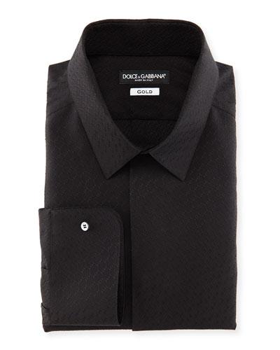 Jacquard Tuxedo Shirt, Black