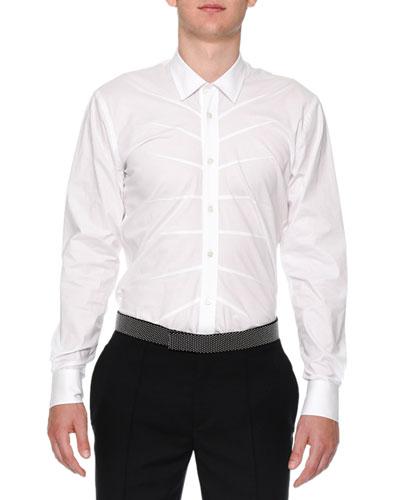 Seam-Detail Long-Sleeve Dress Shirt, White