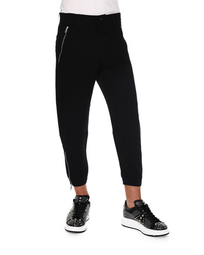 Zipper-Pocket Knit Jogger Pants, Black