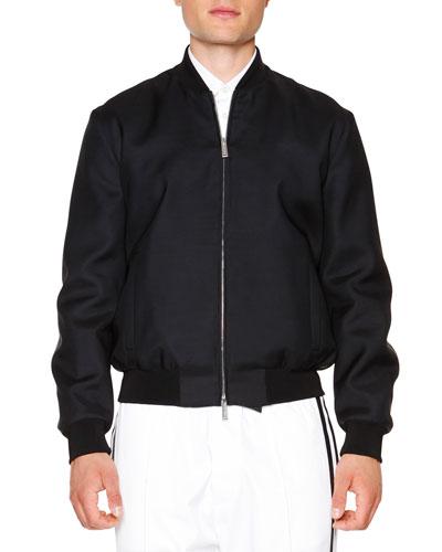 Wool/Silk Bomber Jacket, Black