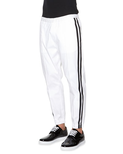 Side-Stripe Jogger Pants, White