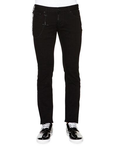 Slim-Fit Denim Jeans with Chain, Black