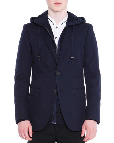 Attitude Two-Button Soft Jacket, Navy