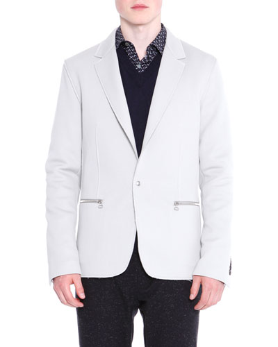 Zip-Pocket One-Button Jacket