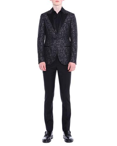 Peak-Lapel Jacquard Evening Jacket, Black